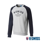 K-SWISS Curve KS Logo Sweatshirt圓領長袖上衣-女-淺灰/黑