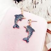 藍色海豚耳環氣質女耳墜時尚韓國項鍊個性可愛吊墜鎖骨鍊簡約飾品