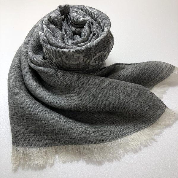 GUCCI全新真品 雙G緹花雙色 圍巾/披肩 (灰色 / 珍珠白) ~現貨特價