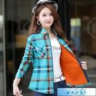 格子外套 2020秋冬新款加絨格子襯衫女韓版修身長袖保暖襯衣加厚百搭女外套 漫步雲端