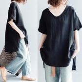 亞麻襯衫 【清濯】小V領圓擺開叉亞麻休閒短袖襯衫寬鬆-黑 瑪麗蘇
