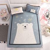北歐風透氣涼爽冰絲蓆(含枕套)-雙人-雪花熊