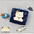 零錢包~雅瑪小舖日系貓咪包 啵啵貓簡單風雙層零錢包/拼布包包
