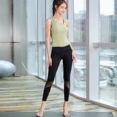 運動背心 健身服套裝女春夏新款網紗彈力提臀運動褲無袖單肩帶胸墊瑜伽背心