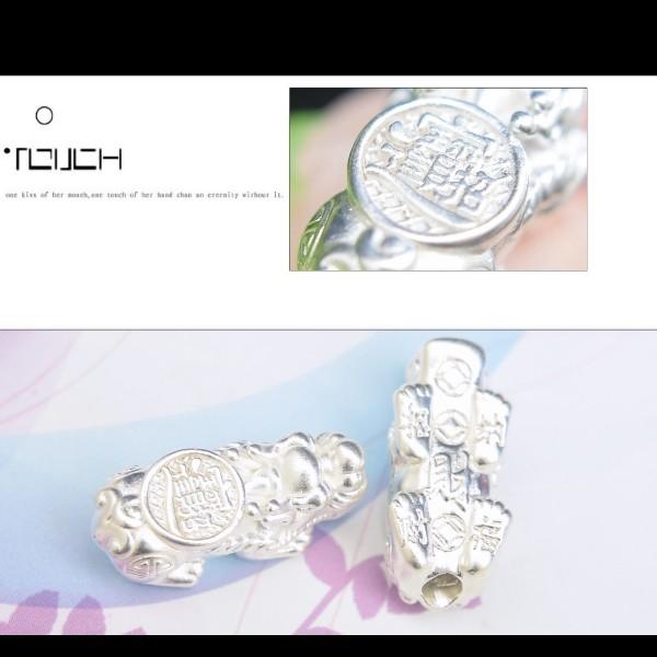銀鏡DIY S999純銀材料配件/3D硬銀招財進寶.納福咬錢貔貅墜/隔珠F款(XL)~適合手作蠶絲蠟線/幸運繩