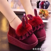 冬季高跟棉拖鞋女可愛卡通兔子厚底防滑室內居家居防水冬天毛毛鞋 美眉新品