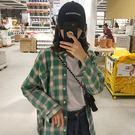 (全館一件免運)DE SHOP~(XA-7257)韓格子小清長袖襯衫