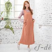 【ef-de】激安 無袖V領長版連身裙(深邃黑/鮭魚紅)