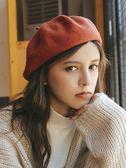 帽子—立體加厚日系羊毛呢貝雷帽子女秋冬文藝潮搭純色畫家帽 korea時尚記