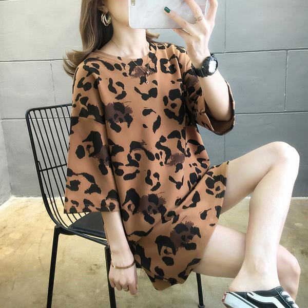 清倉188 韓國風寬鬆棉豹紋個性短袖上衣