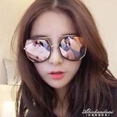 墨鏡女潮眼鏡圓形彩色太陽鏡女圓臉韓版復古眼鏡  黛尼時尚精品