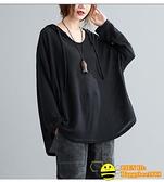 長袖針織衫 M寬鬆寬版純色格紋針織衫連帽大碼女裝上衣【happybee】