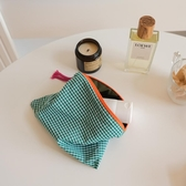 化妝收納包 簡約撞色格子化妝包旅行便攜大容量棉質化妝品收納袋