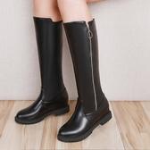 秋冬女長靴不過膝平底女靴高筒靴子馬靴軍靴騎士靴長筒靴 歐亞時尚