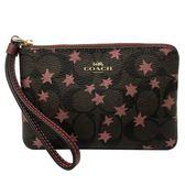 【COACH】經典C LOGO滿版星星手拿包零錢包(金屬紅星星/深咖)