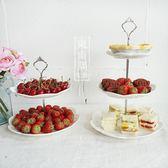 水果盤純白陶瓷雕花點心盤 上下雙層三層歐式精美下午茶點心架子