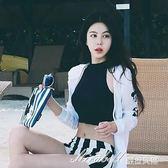 泳衣女保守三件套學生韓版溫泉小香風小清新分體平角褲顯瘦泳衣   蜜拉貝爾