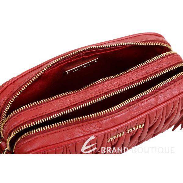 miu miu Matelassé 抓皺小羊皮迷你雙層斜背包(紅色) 1820570-54
