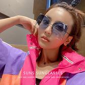 歐美時尚墨鏡 海洋藍大框簍空滾動珍珠金屬墨鏡 復古名媛太陽眼鏡 抗紫外線UV400顯小臉