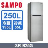 ↙0利率/免運費↙ SAMPO聲寶 250公升 2級能效 節能環保雙門冰箱SR-B25G 原廠保固【南霸天電器百貨】