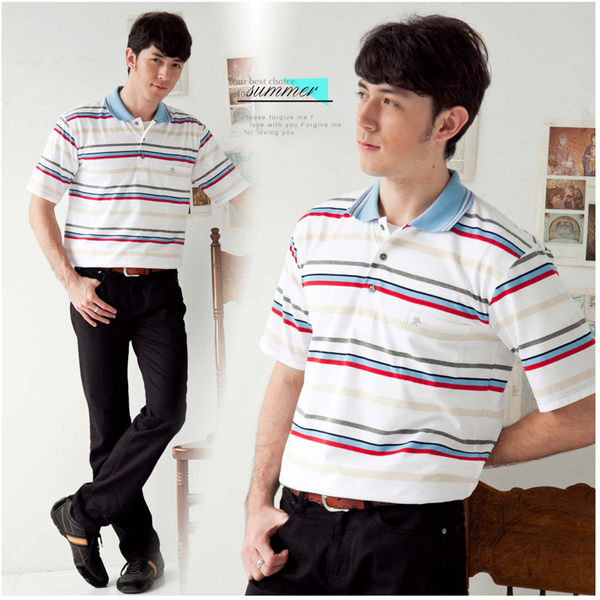 【大盤大】(P93671) 男 條紋POLO衫 團購 運動棉衫 有領休閒衫 透氣 口袋 禮物【L和2XL號斷貨】