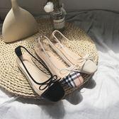 韓版夏季百搭時尚小香芭蕾舞平底鞋蝴蝶結透明淺口單鞋女 盯目家
