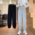 高腰灰色運動褲秋季2020年新款褲子哈倫褲直筒休閒褲寬松束腳褲女 蘿莉新品