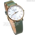 ROSEFIELD 歐風美學 時尚簡約 圓形 真皮錶帶 女錶 防水手錶 綠色 WFGG-W85