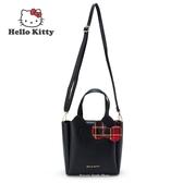 日本限定 三麗鷗 凱蒂貓 HELLO KITTY 格子風 2WAY 手提包 / 單肩包 / 斜背包 黑色款