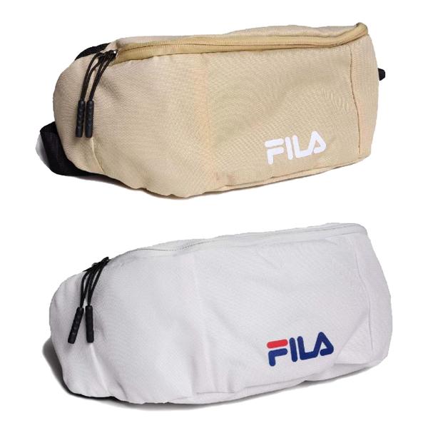 FILA 斜跨包 腰包 胸包 斜肩包 隨身包 單肩包 BWT-9031 白/奶茶 【樂買網】