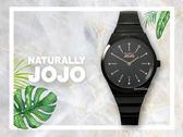 【時間道】NATURALLY JOJO  時尚簡約流線型仕女腕錶 / 黑面玫瑰金刻黑鋼(JO96916-88F)免運費