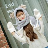 韓版冬季可愛鹿角帽子圍巾手套三件套OR1197『miss洛羽』