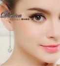 耳環 現貨 專櫃CZ鑽氣質名媛最愛閃亮魔方 立體 方塊 八心八箭 長耳環 S92267 Danica 韓系飾品