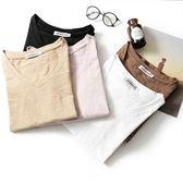 2018夏裝新款竹節棉t恤女半袖純色簡約短袖打底衫V領寬鬆百搭體桖『新佰數位屋』