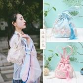 古風包包中國古風手工蕾絲布包日常漢服配飾包袋流蘇斜背手提女包 - 古梵希