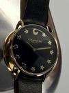 星晴錶業-COACH蔻馳女錶,編號CH00006,36mm金色錶殼,深黑色錶帶款
