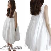 春夏必備款清涼顯瘦素面孕婦洋裝 白【CMH6283】孕味十足 孕婦裝