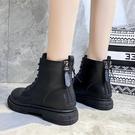 馬丁靴女冬新款2020年新款英倫風后拉鏈百搭平底短靴雪地靴棉鞋女一米陽光