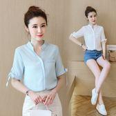 FINDSENSE G5 韓國時尚 女裝 V領 百搭 簡約 襯衫 五分袖 上衣
