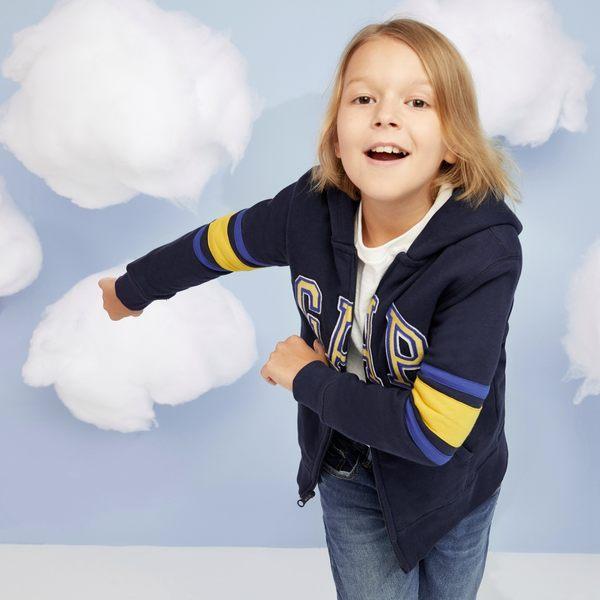 Gap男童 logo條紋長袖連帽休閒外套 柔軟兒童上衣 358339-靛藍色
