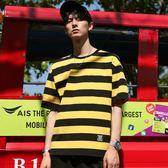 黃色寬條紋T恤男短袖寬鬆韓版潮流潮牌青年男生丅上衣服海魂衫