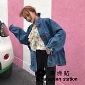 外套/裝大口袋單排扣水洗藍寬鬆牛仔「歐洲站」