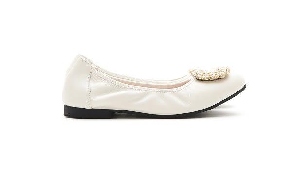 MICHELLE PARK 典雅華麗 水鑽飾釦舒適上班族約會圓頭平底娃娃鞋-米白