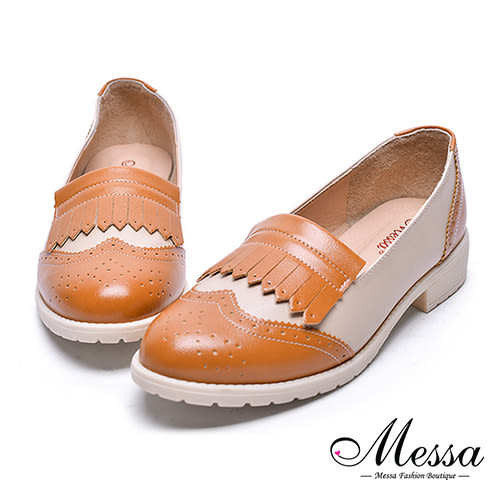 【Messa米莎專櫃女鞋】MIT-流蘇雕花仿牛津內真皮造型跟鞋-棕色