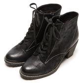 DIANA 經典發燒—魅力質感牛紋擦色綁帶短靴-黑★特價商品恕不能換貨★