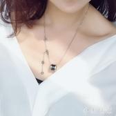 韓版黑陶瓷項鏈鈦鋼小蠻腰紅人彈簧吊墜女鎖骨鏈簡約玫瑰金毛衣鏈 KP2387『小美日記』