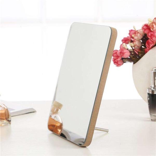 鏡子 韓式簡約田園白色木質制花台式小鏡子化妝鏡梳妝鏡桌鏡