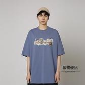 夏季情侶寬鬆圓領短袖T恤衫韓版男女印花上衣【聚物優品】