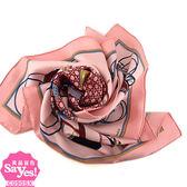 【奢華時尚】秒殺推薦!HERMES 粉膚色底馬車印花67公分方形絲質領巾圍巾(九五成新)#23325