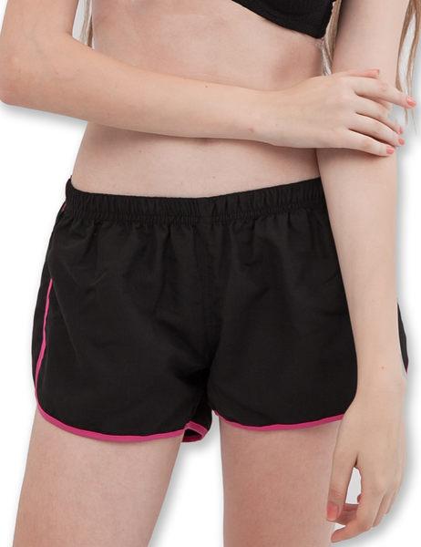 運動休閒短褲鬆緊防水快乾-黑-波曼妮亞-內衣 5200190